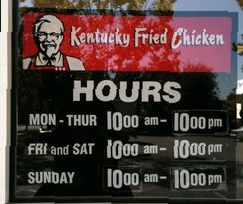 KFC Holiday Store & Shopping Mall Hours