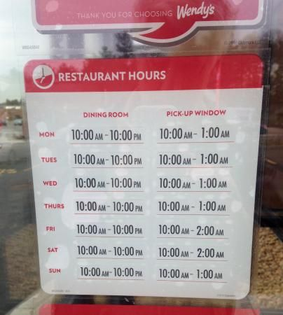 Wendy's Holiday Hours Open and Closed